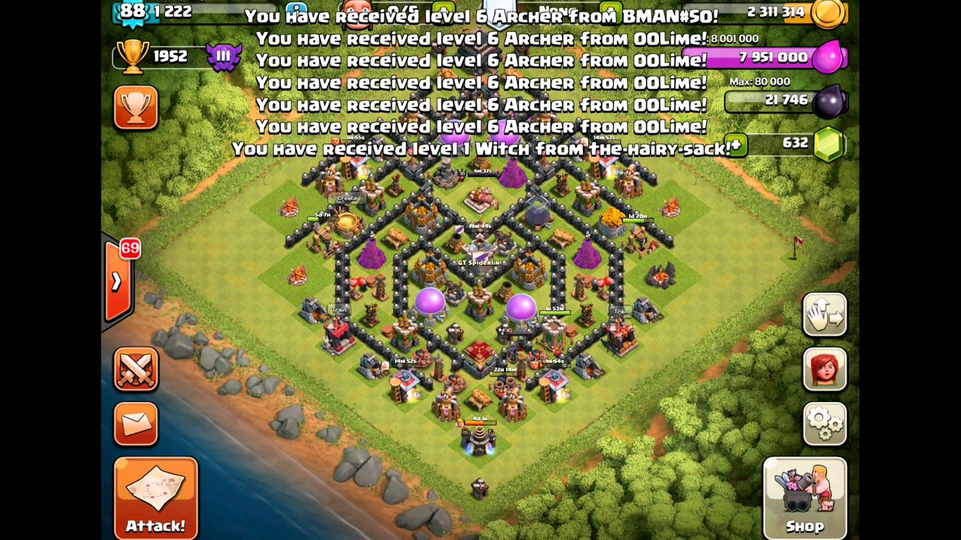 Clash of Clans TH9: Testing Out the Giant/Healer Raid Strategy with Some Balloons for Good Measure